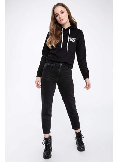 DeFacto Kapüşonlu Yazı Baskılı Renk Bloklu Sweatshirt Siyah